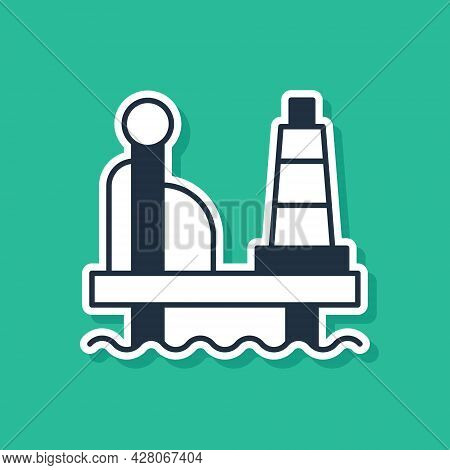 Blue Oil Platform In The Sea Icon Isolated On Green Background. Drilling Rig At Sea. Oil Platform, G