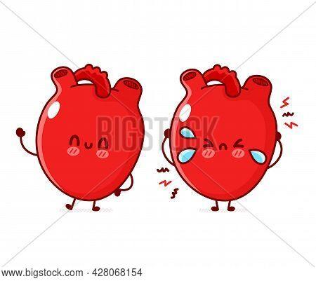 Cute Funny Happy And Sad Sick Heart Organ. Vector Flat Line Doodle Cartoon Kawaii Character Illustra