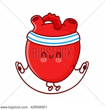 Cute Funny Heart Organ Make Gym With Jump Rope. Vector Flat Line Cartoon Kawaii Character Illustrati
