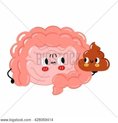 Cute Funny Intestine Organ Character Hold Poop. Vector Hand Drawn Cartoon Kawaii Character Illustrat