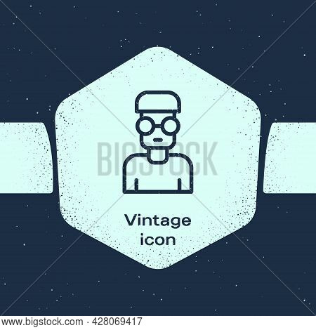 Grunge Line Nerd Geek Icon Isolated On Blue Background. Monochrome Vintage Drawing. Vector