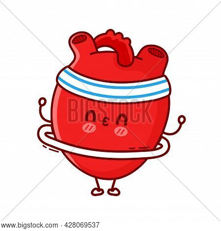 Cute Funny Heart Organ Make Gym With Hula Hoop. Vector Flat Line Cartoon Kawaii Character Illustrati