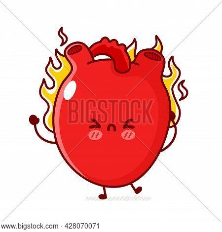 Cute Funny Sad Human Heart Organ Burn In Flame. Vector Flat Line Doodle Cartoon Kawaii Character Ill