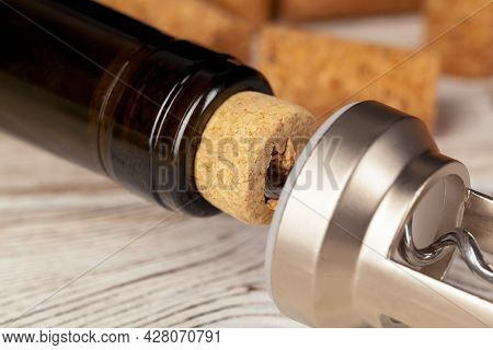 Cork Screw For Wine And Corks Close Up