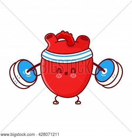 Cute Funny Heart Organ Make Gym With Barbell. Vector Flat Line Cartoon Kawaii Character Illustration
