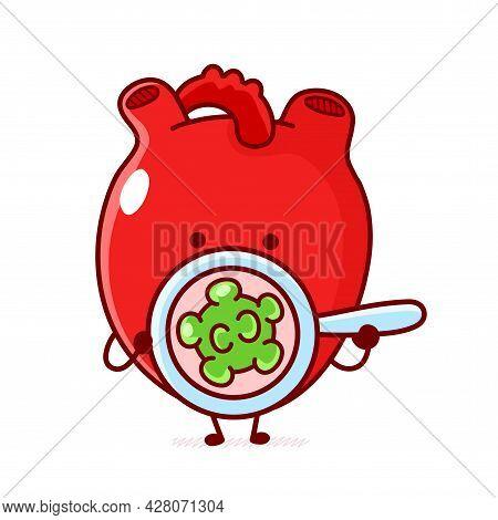 Cute Funny Human Heart Organ Look At Bacteria, Virus. Vector Doodle Cartoon Kawaii Character Illustr