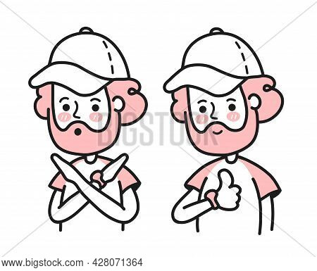 Young Man Crossing Arms Saying No Gesture Show Thumbs Up. Vector Doodle Cartoon Character Illustrati