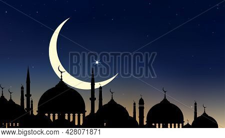 Eid Al Adha Mubarak Card With Silhouette Dome Mosques At Dark Night With Crescent Moon And Star Sky,