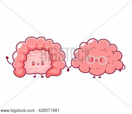 Cute Funny Happy Human Intestine And Brain Organs. Vector Hand Drawn Cartoon Kawaii Character Illust