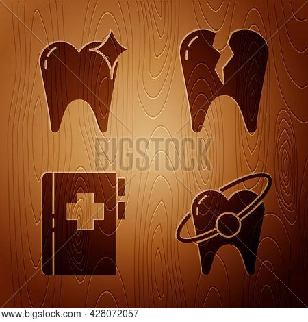 Set Tooth Whitening Concept, Tooth Whitening Concept, Clipboard With Dental Card And Broken Tooth On