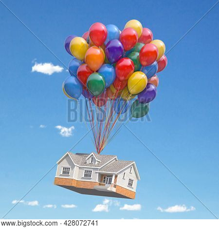 House with balloons bunch flying in the sky. Real estate purchasing, moving house and housewarming concept. 3d illustration