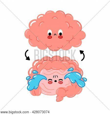 Cute Funny Sad Human Intestine, Brain Connection.vector Cartoon Kawaii Character Illustration Icon.i
