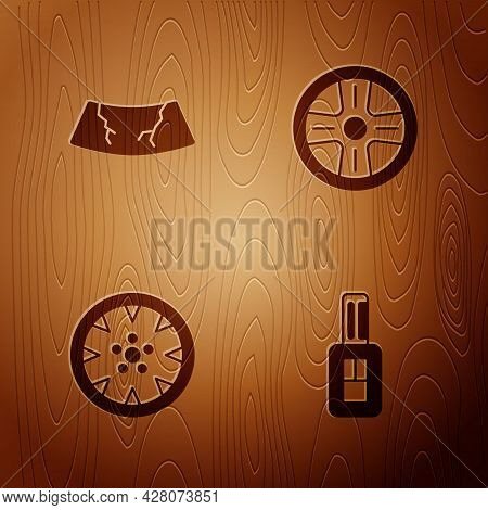 Set Car Key With Remote, Broken Windshield, Alloy Wheel And On Wooden Background. Vector
