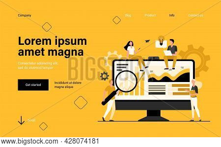 Tiny Analysts Working With Data On Dashboard Isolated Flat Vector Illustration. Cartoon Office Worke
