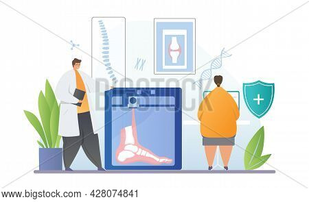 Male And Female Medical Scientists Are Printing Foot On 3d Printer In Laboratory Together. Concept O