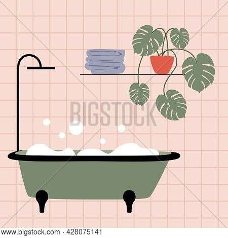 Cute Pink Bathroom Interior With Green Bathtub And Soap Bubbles. Flower With Palm Leaves In The Inte