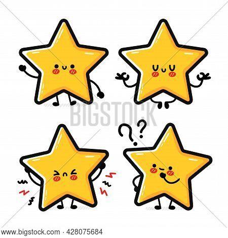 Cute Funny Happy Star Sign Character Set Collection. Vector Hand Drawn Cartoon Kawaii Character Illu