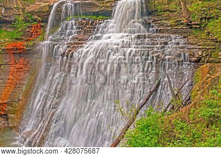 Cascading Water In A Forest Canyon At The Brandywine Falls In Cuyahoga Valley National Park In Ohio