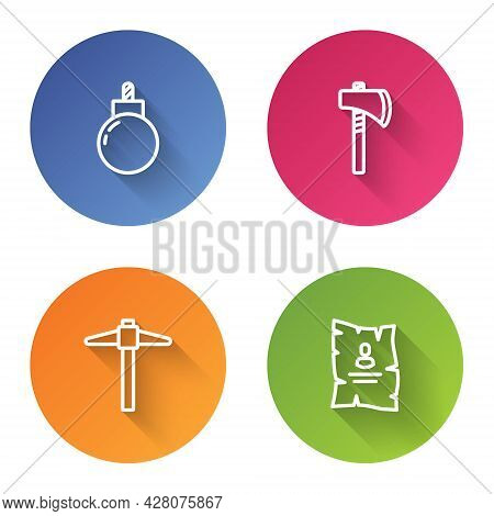 Set Line Bomb Ready To Explode, Tomahawk Axe, Pickaxe And Wanted Western Poster. Color Circle Button