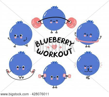Cute Funny Blueberry Berry Make Gym Set Collection. Vector Flat Line Cartoon Kawaii Character Illust