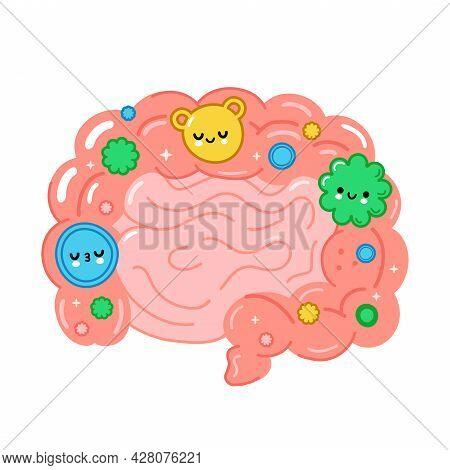 Healthy Intestine Organ With Good Bacterias, Microflora. Vector Hand Drawn Cartoon Illustration. Iso