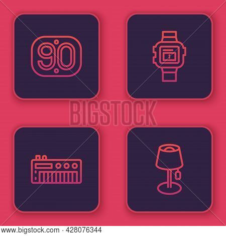 Set Line 90s Retro, Music Synthesizer, Wrist Watch And Floor Lamp. Blue Square Button. Vector