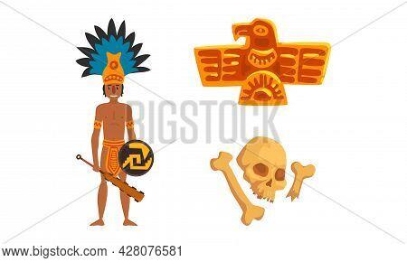 Maya Civilization Symbols Set, American Tribal Culture Signs Cartoon Vector Illustration