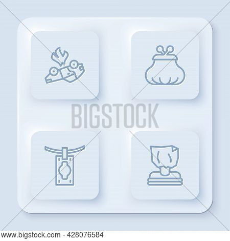 Set Line Burning Car, Wallet, Money Laundering And Kidnaping. White Square Button. Vector