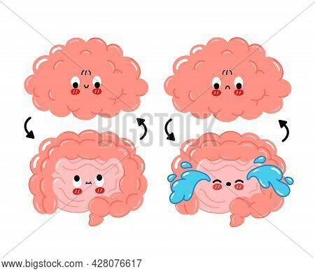 Cute Funny Happy, Sad Human Intestine, Brain Connection.vector Cartoon Kawaii Character Illustration
