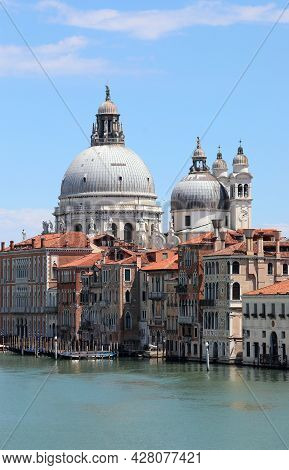 Big Dome Of The Chruch Called Madonna Della Salute In Venice And Grand Canal