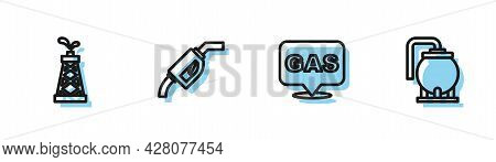Set Line Location And Gas Station, Oil Rig, Gasoline Pump Nozzle And Tank Storage Icon. Vector