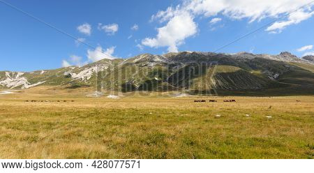 Wide Beautiful Panorama Of The Apennines In The Abruzzo Region In Central Italy On A Sunny Summer Da