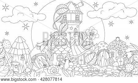 Vector Graphics, A Fairy Glade With Mushroom Houses, A Small Fantastic Settlement, Coloring Book.
