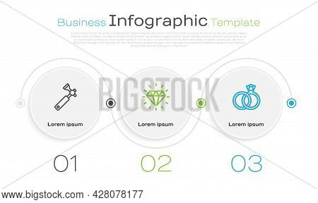 Set Line Jewelers Lupe, Diamond And Wedding Rings. Business Infographic Template. Vector