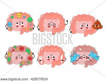 Cute Funny Intestine Organ Character Set Collection. Vector Hand Drawn Cartoon Kawaii Character Illu