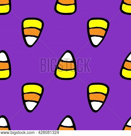 Vector Seamless Pattern Of Candy Corn On A Purple Background A Pattern Of Striped Candy Drawn In The
