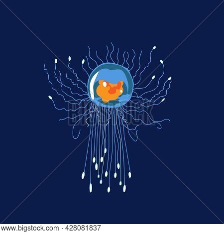 A Fantastic Glowing Blue Jellyfish Floating In The Depths Of The Ocean. Vector Illustration Of An Un