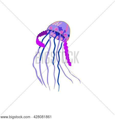 Multi-colored Vector Jellyfish. Sea Creatures Of Bright Colors Of The Rainbow. Invertebrates Are Inh