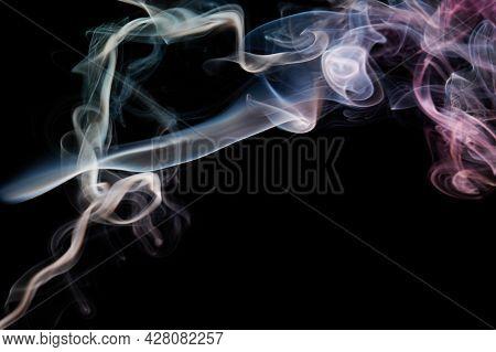 Silky Smoke Curves On Black Background