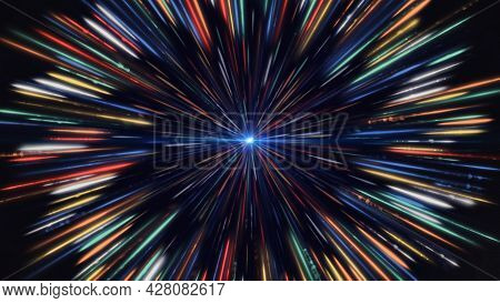 Hypnotic Dot With Rotating Colorful Rays. Animation. Bright Multicolored Rays Circle Around Glowing