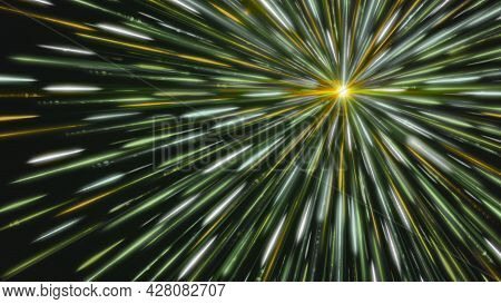 Bright Star Emits Colored Lines. Animation. White Dot Emits Bright And Colored Rays In Outer Space.