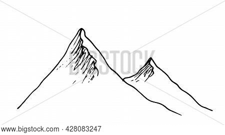 Vector Isolated Mountain Top.a Chain Of Mountains Drawn By Hand With An Isolated Black Line On A Whi