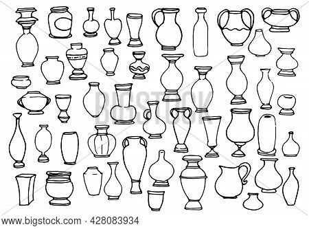 Vector Set Of Empty Vases. A Collection Of Vases, Jugs Of Various Shapes, Hand-drawn In Doodle Style