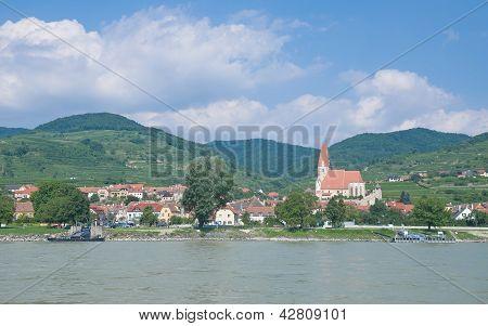 Village of Weissenkirchen in Wachau Valley at Danube River,Austria poster