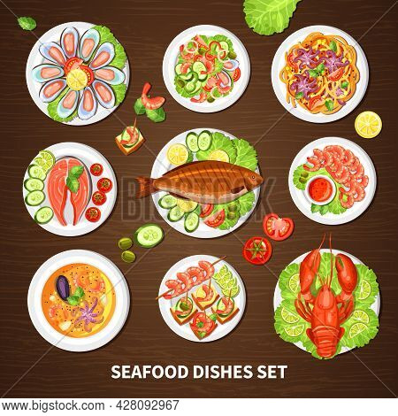 Poster With Seafood Dishes Set Of Different Fishes Cancer Lobster Mussels And Squid With Vegetables