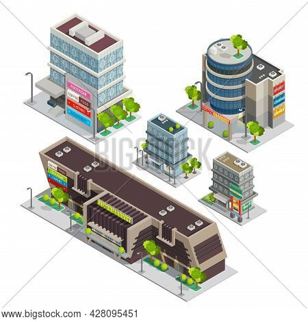 Modern City Shopping Center Complex Isometric Composition With Supermarket And Department Store Buil