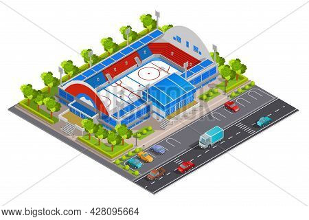 Sport Complex Stadium Facilities For Games And Celebrations With Parking Lot Abstract Isometric Comp