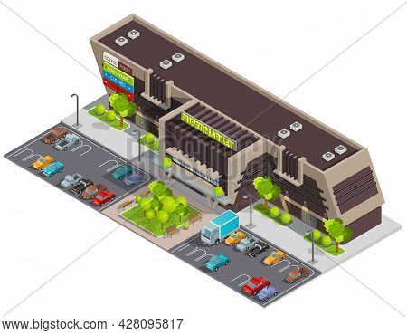Shopping Mall Center In Business District For Wealthy Customers With Parking Lot Isometric Compositi