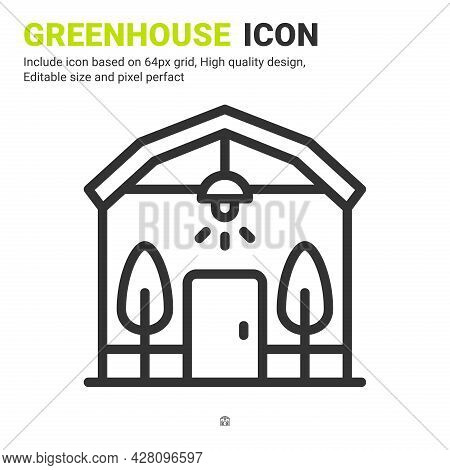 Greenhouse Icon Vector With Outline Style Isolated On White Background. Vector Illustration Conserva