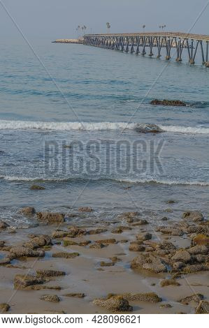 View Of Richfield Pier Out To Rincon Island On The Pacific Ocean. In Mussel Shoals, Ventura County,